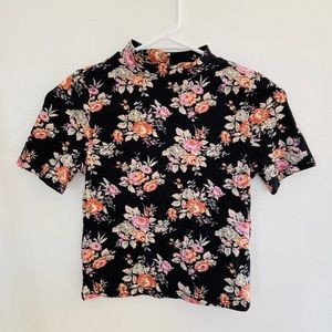 High Neck Black Floral Top